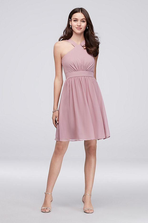 Y-Neck Pleated Chiffon Short Bridesmaid Dress from the Reverie ...