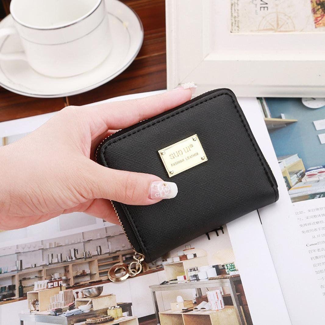 bb0fec9498fe FDelinK Women Lady Leather Small Wallet Card Holder Zip Money Purse ...