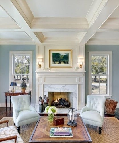 beautiful blue and crisp white detailing, coffered ceiling, windows ...