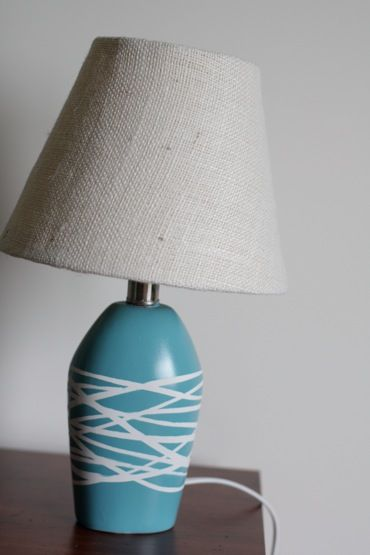 Diy Lamp Remodel 1 Wrap Rubber Bands Around Base 2 Spray Paint In Any Color 3 Allow To Dry