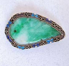 "1.7"" Antique Chinese Vermeil Silver & Enamel Brooch w/ Carved Green Jadeite Jade"