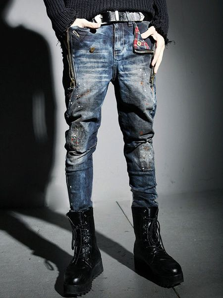 Popular Blue Distressed Jeans Cotton Skinny Jeans for Men