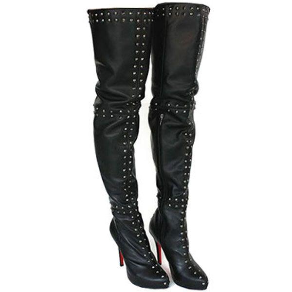 afd3e77d918ebb Christian Louboutin Boots Spike Sheepskin Thigh High Boots Black ...