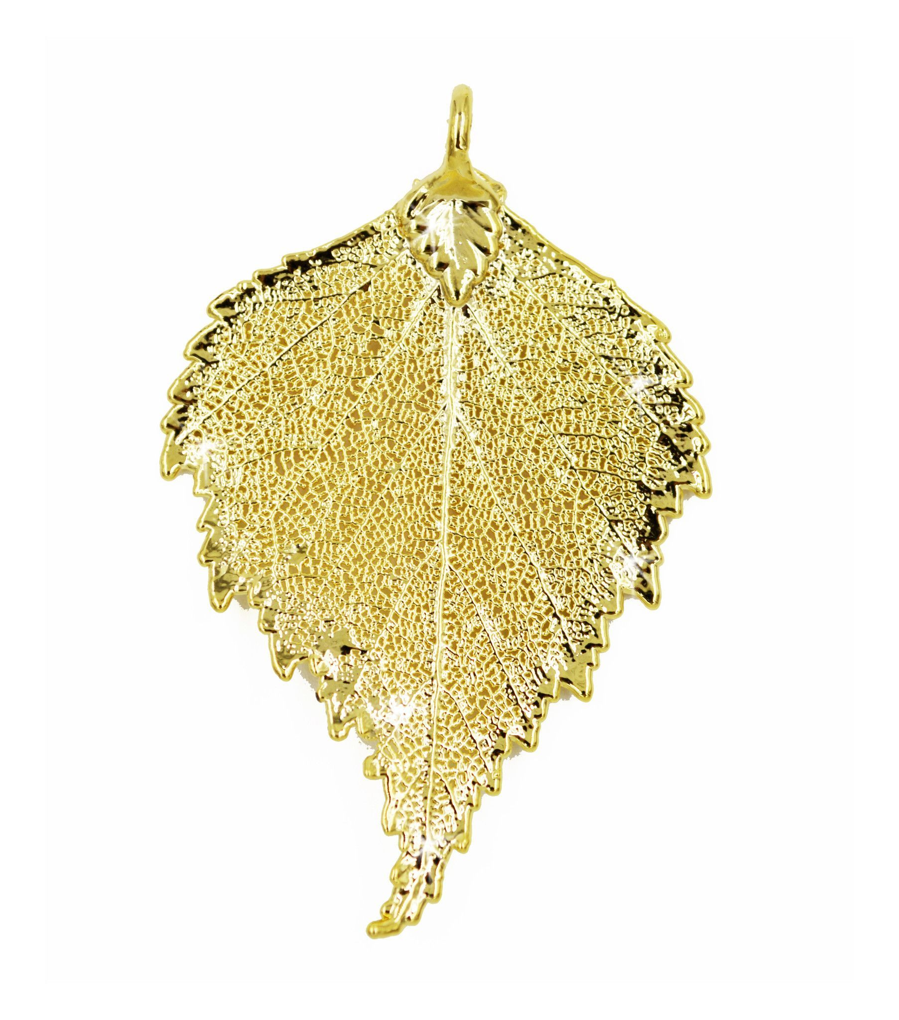 Real Leaf PENDANT BIRCH Dipped in 24K Yellow Gold