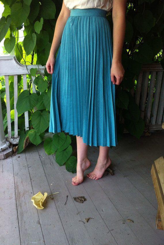 Vintage Teal Blue Pleated ALine Maxi Skirt 100 Silk by Amorinshop, $85.00