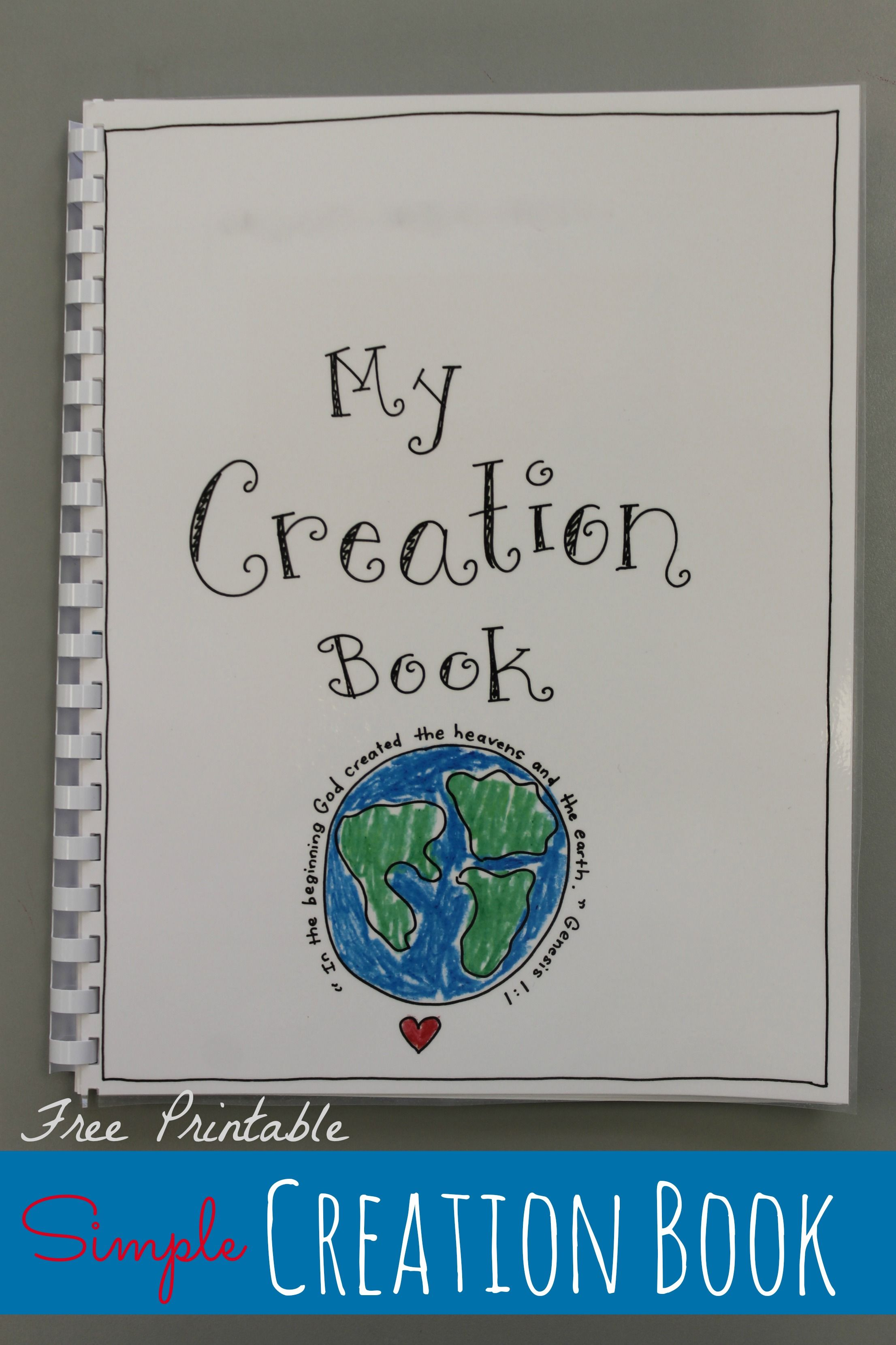 Free printable creation book craft at happyhomefairy com