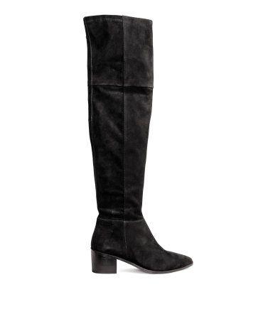 Kniehoge laarzen van suède Zwart DAMES   H&M NL