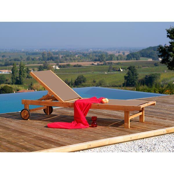 Bain de soleil en bois avec roues Toile Textilène Taupe CARAVELLE ...