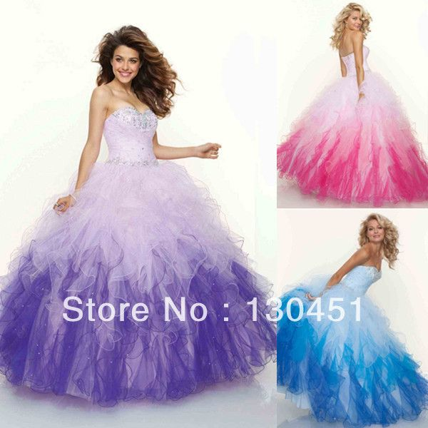 quinceanera dresses pink and white ruffles | ... -length-colorful ...