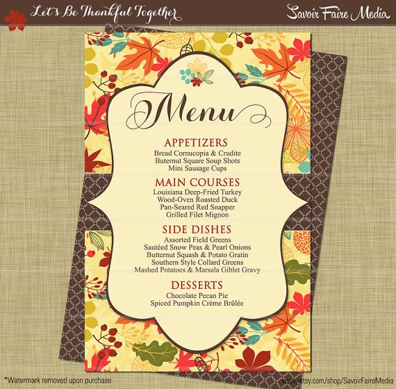 Thanksgiving Dinner Party Menu  Fall Autumn Dinner Party Invitation