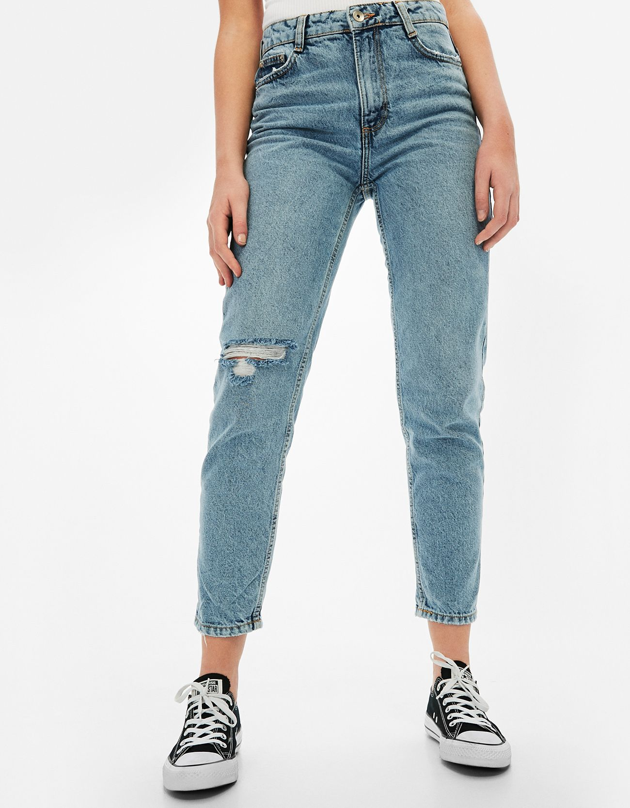 4d45cb0b Ripped mom fit jeans. Discover this and many more items in Bershka with new  products every week