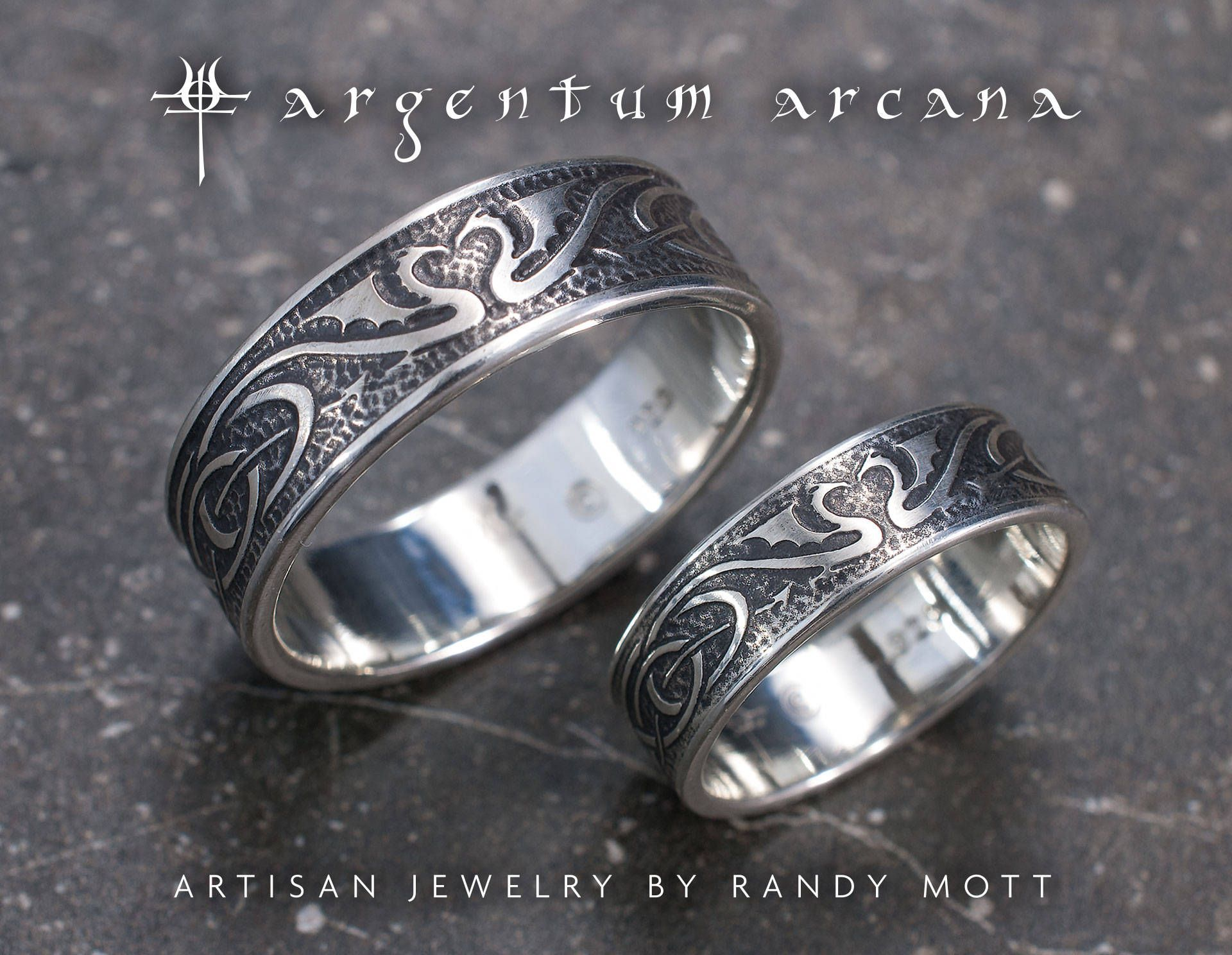 Hand Etched Sterling Silver Dragon Wedding Bands by ArgentumArcana