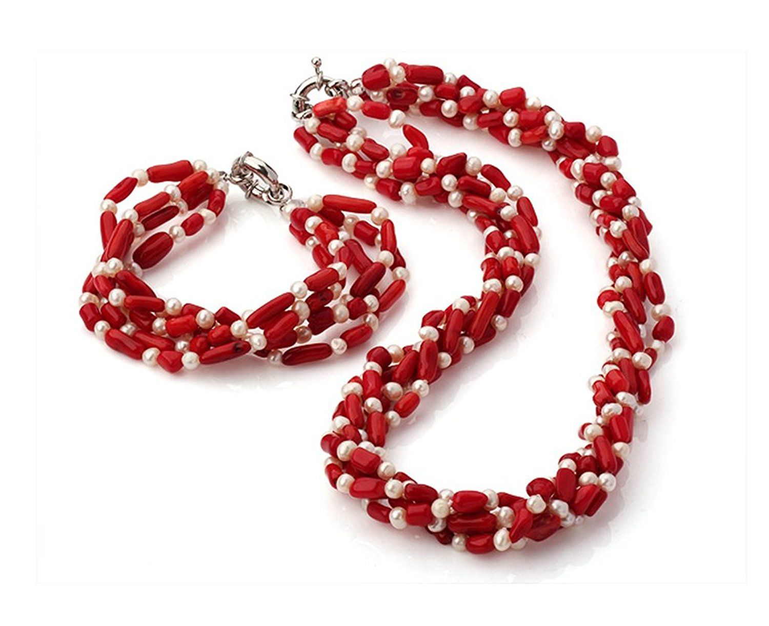 Charming Natural 7mm Pink Coral Necklace and Bracelet Jewellery Set - Presented in A Beautiful Jewellery Gift Box SfBMn3