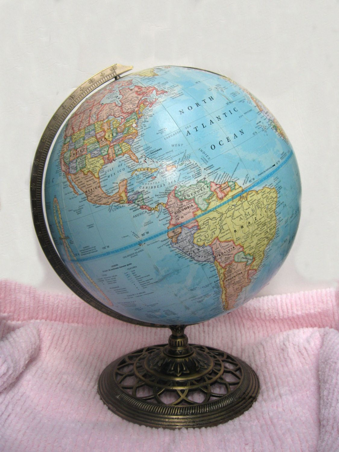 Vintage george f cram world globe blue oceans earth ornate metal vintage george f cram world globe blue oceans earth ornate metal base 12 tabletop rotating planet relief map russia school library decor by gumiabroncs Images