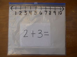 love the idea of using the slider on a ziploc bag as a number line for adding and subtracting
