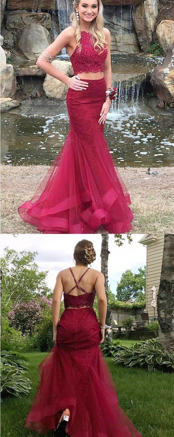Mermaid deep vneck beaded prom dress two piece burgundy formal