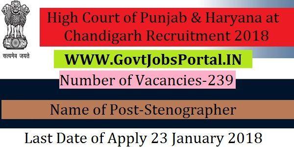 punjab and haryana high court chandigarh jobs