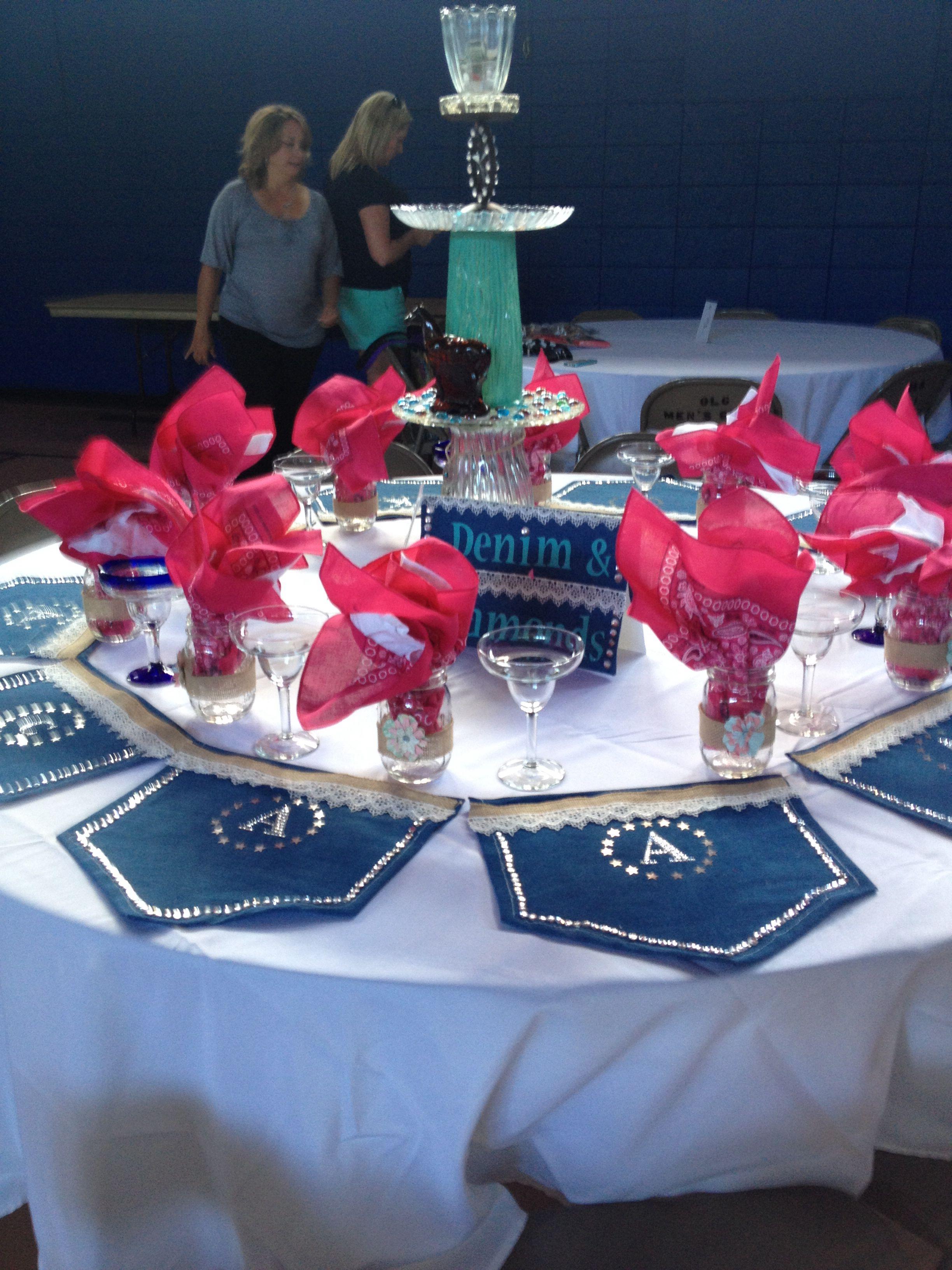 Denim diamonds themed luncheon table decorations denim for Denim centerpieces