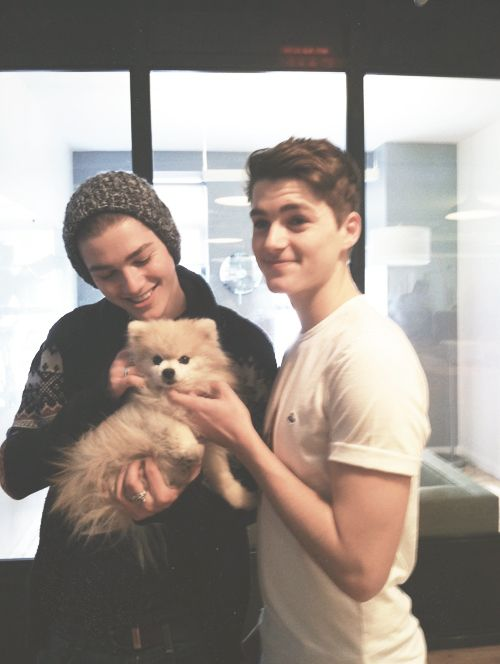 Jack and Finn Harries with Tommy the Pom-  They are both so gorgeous