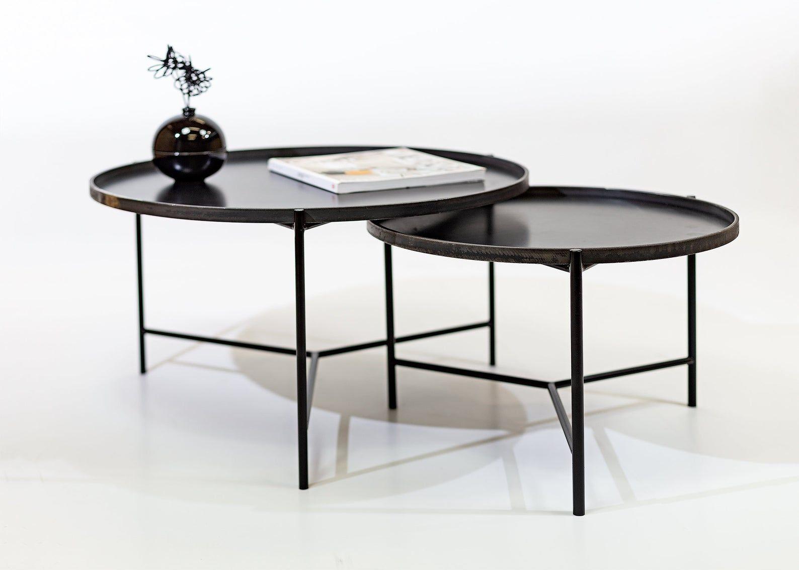 Set Of 2 Round Coffee Tables Etsy Wohnzimmertische Runder Kaffeetisch Runder Tisch [ 1134 x 1588 Pixel ]