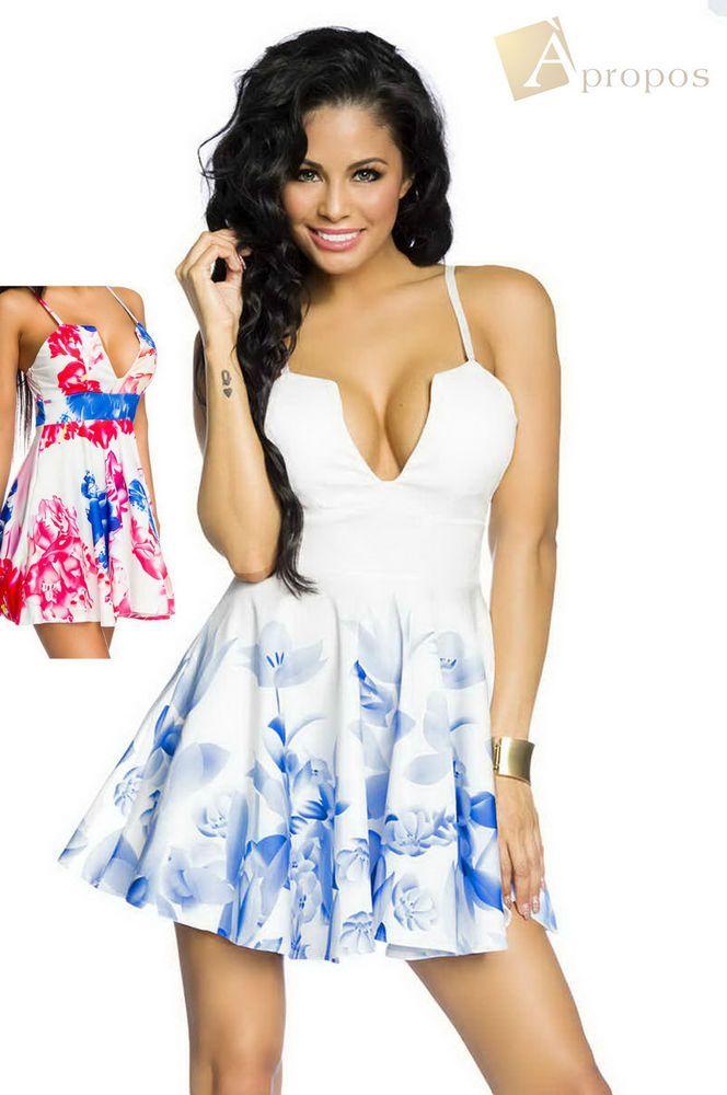 APROPOS Sommerkleid Kleid Push Up Träger Mini Blau Blumen ...