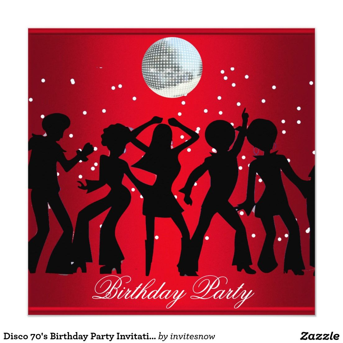 Disco 70\'s Birthday Party Invitation Red   Party invitations and ...