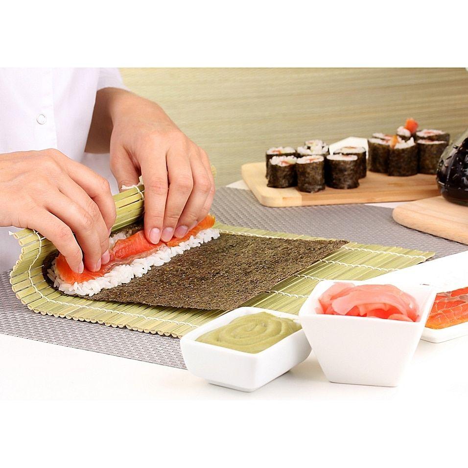 Helen S Asian Kitchen Bamboo Sushi Mat In Green Bed Bath Beyond In 2020 Bamboo Sushi How To Make Sushi Sushi Mat