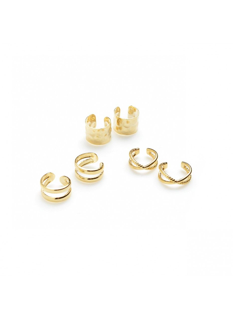 Jazz up your ears with this ear cuff set - mix and match to complement your earrings or adorn unpierced ears.No piercing requiredDiameter: 0.35