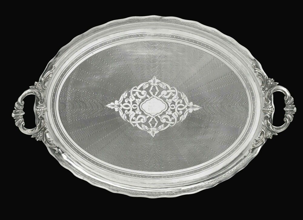 A Large Ottoman Silver Tray Stamped With Tughra Of Sultan Abdulhamid Ii R 1876 1909 Turkey Late 19th Century