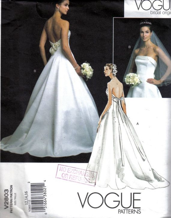 Vogue V2803 Sewing Pattern Bridal Original Wedding Gown Dress Size ...