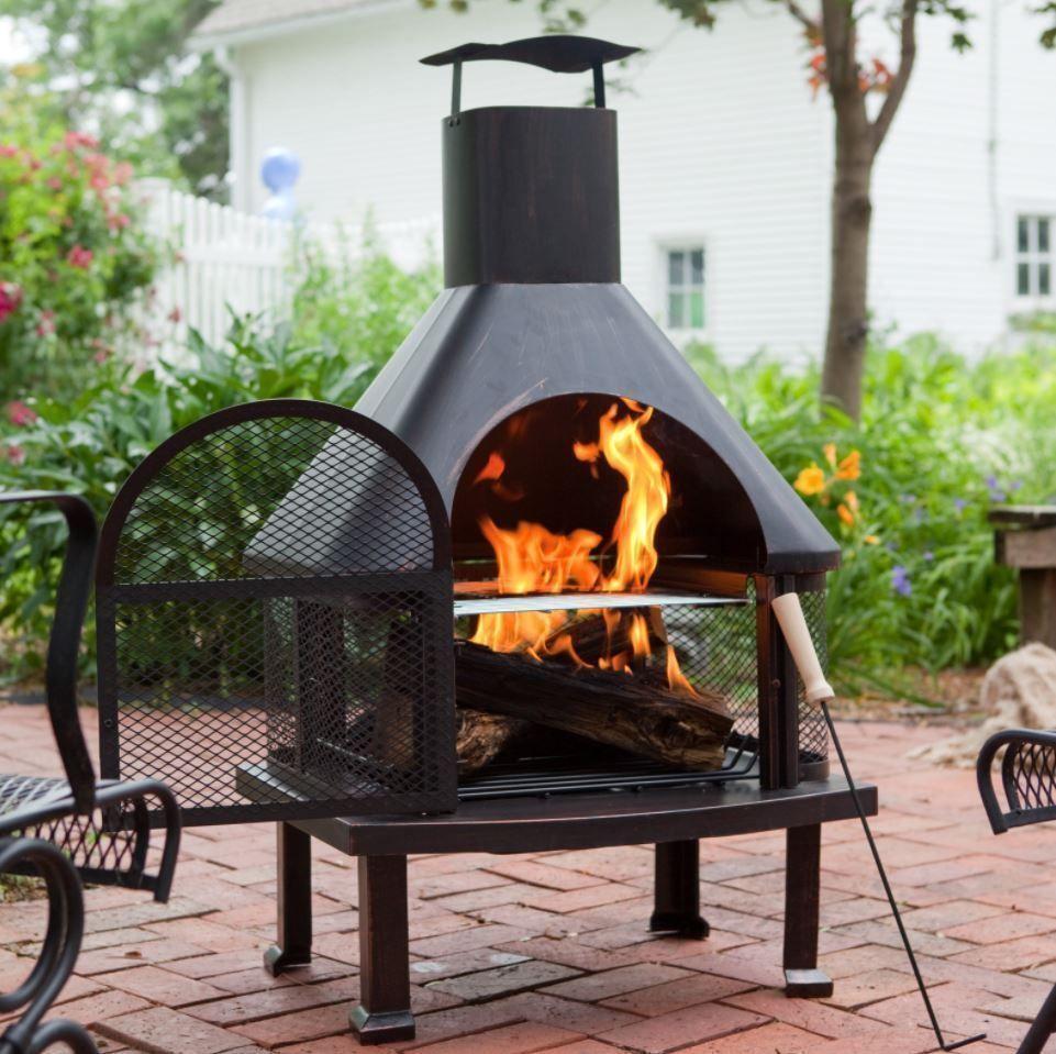 Outdoor Wood Burning Fireplace With Chimney Backyard Extra Large
