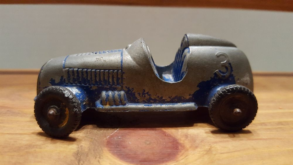 Vintage Die Cast Tootsie Toy Race Car 3 Blue Boat Tail Indy Open Cockpit Tootsietoy Blue Boat Toy Car Toys