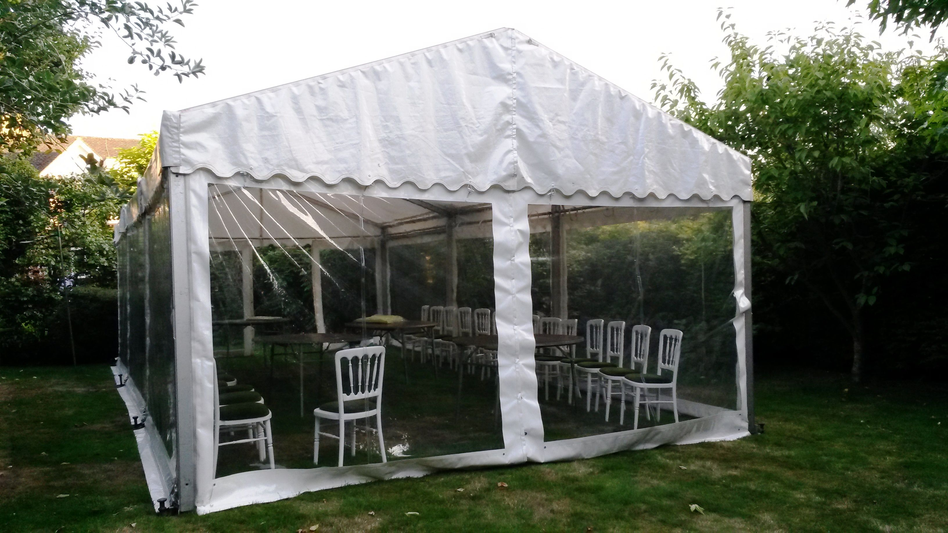 Smaller White Marquee With Window Walls And Furnished With Green And White Chairs Marquee Hire Marquee Window Wall