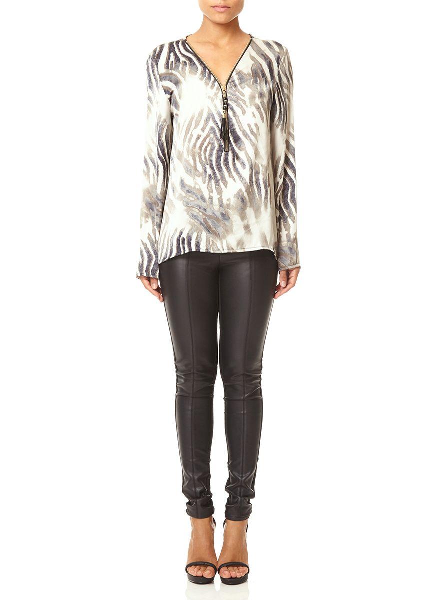 MAGNOLIA - Zebra Print Blouse in Soft Water Colour Style