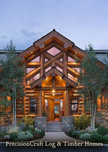 Log homes landscaping front entrance pictures log for Craftsman style homes for sale in boise idaho