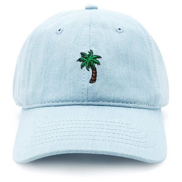 0492e1e80659d6 A denim baseball cap featuring an embroidered palm tree graphic in front  and an adjustable strap back closure. Content + Care Shell & Embroidery  100% cotton ...