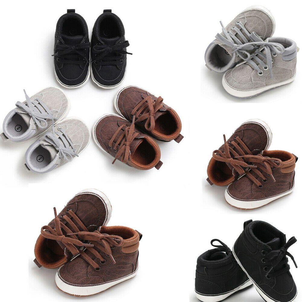 Baby Toddler Girls Princess Grib Shoe Leather Sole Sneaker Christening Pram CH