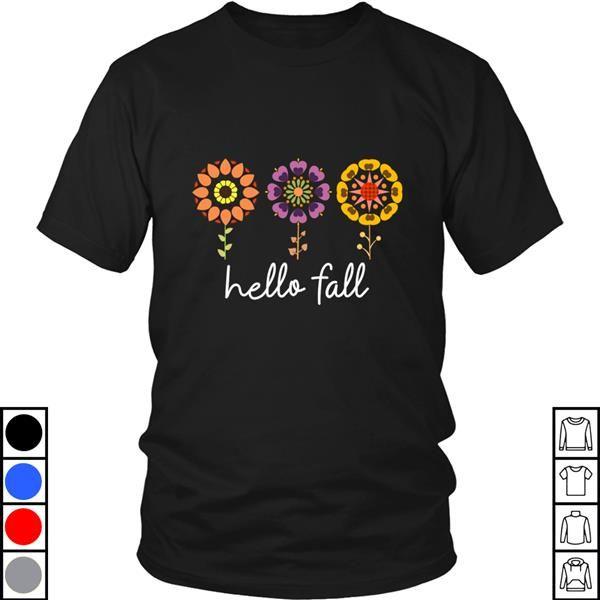 Teeecho Hello Fall Pretty And Cute Autumn Flower Design T-Shirt, Sweatshirt, Hoodie for Men & Women #hellofall