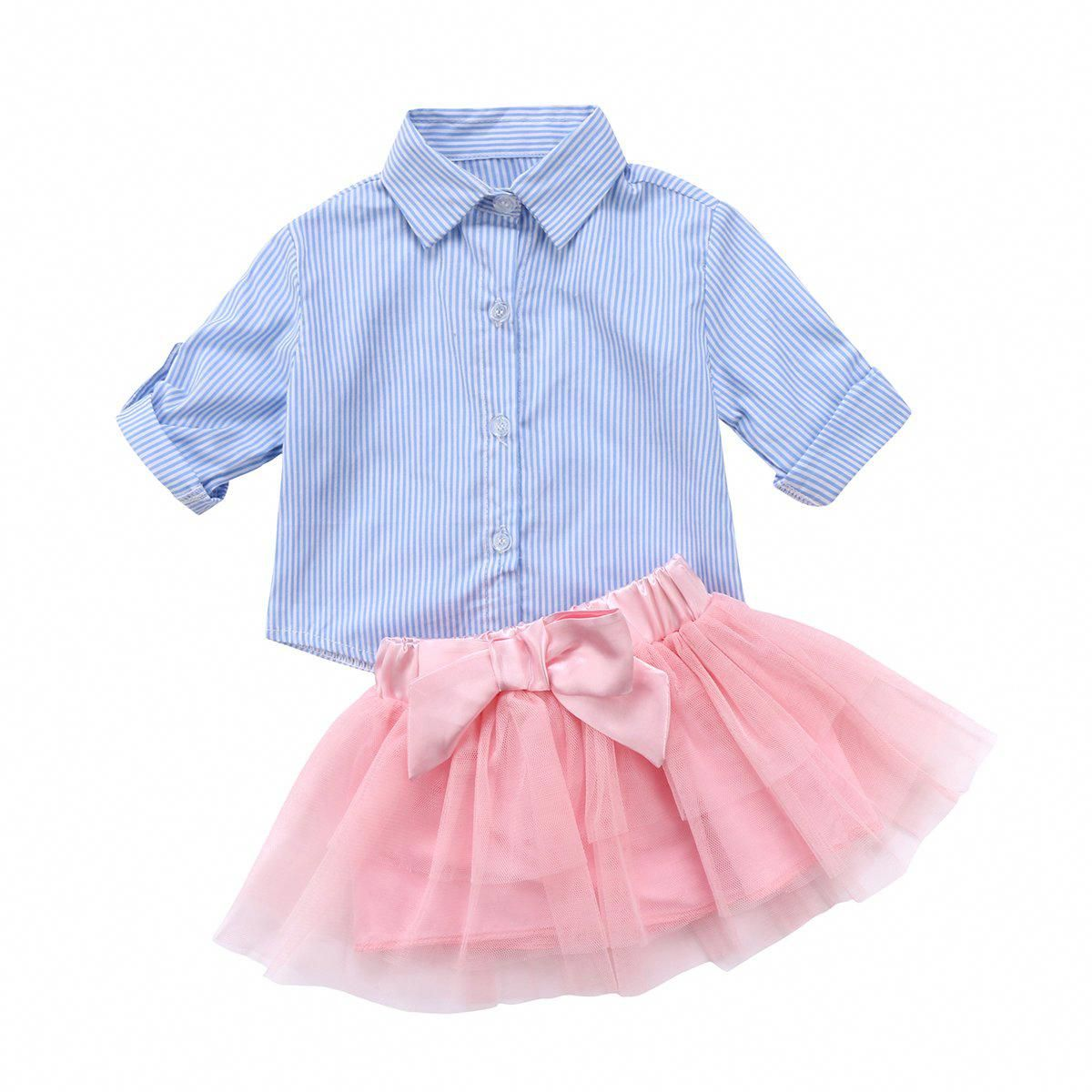 Baby Girl Kids Summer Dress Plaids Long sleeve Dresses T-shirt Tops Clothes Tutu