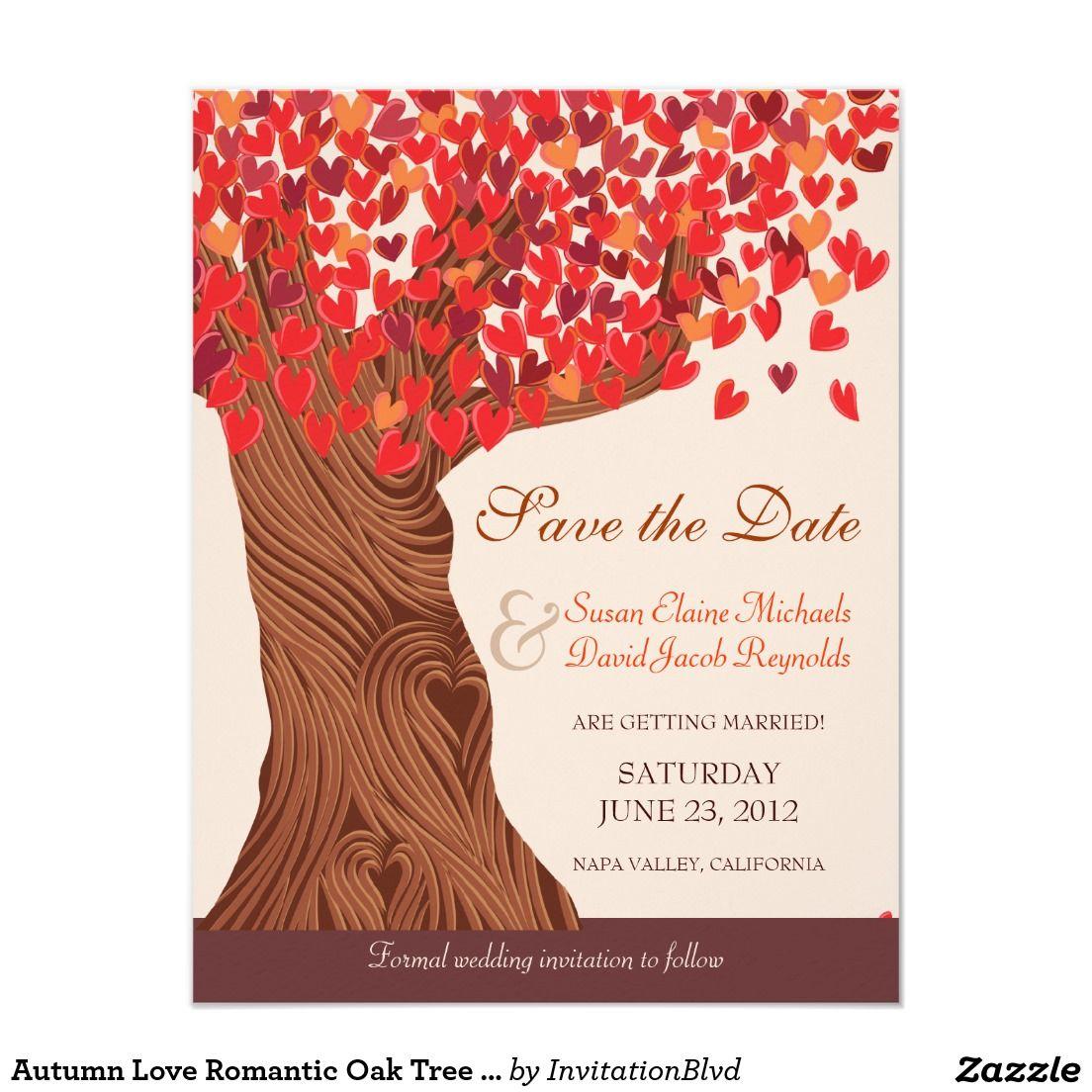 Autumn Love Romantic Oak Tree Save the Date 4.25x5.5 Paper ...
