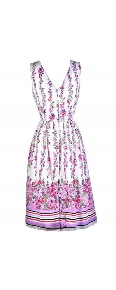 10b8b5824a Lily Boutique Lavender Rose Button Front Floral Print Midi Sundress