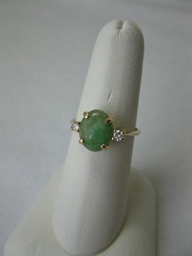 Jade Diamond Engagement Wedding Ring Antique 14k Art Deco Hollywood Regency Ebay