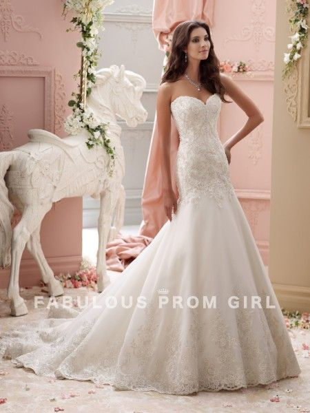 Trumpet / Mermaid Applique Tulle Wedding Dresses For Bride - FabulousPromGirl.com