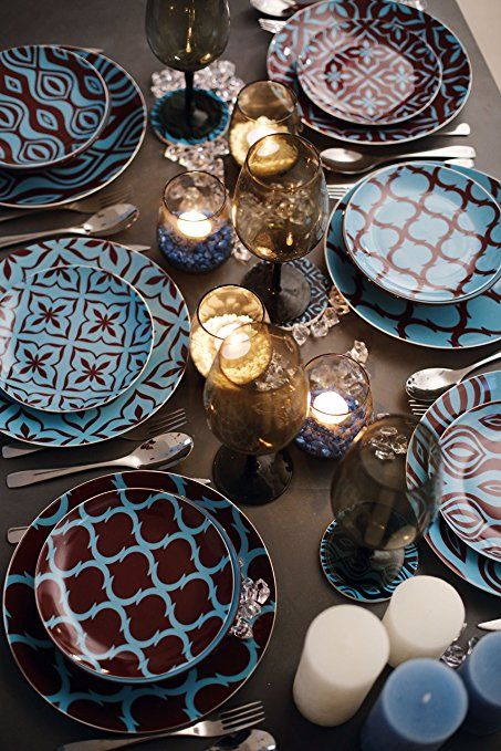 Villa d 'Este Home 2407767Set Geschirr–Geschirr-Spiele (mehrfarbig, Keramik): Amazon.de: Küche & Haushalt
