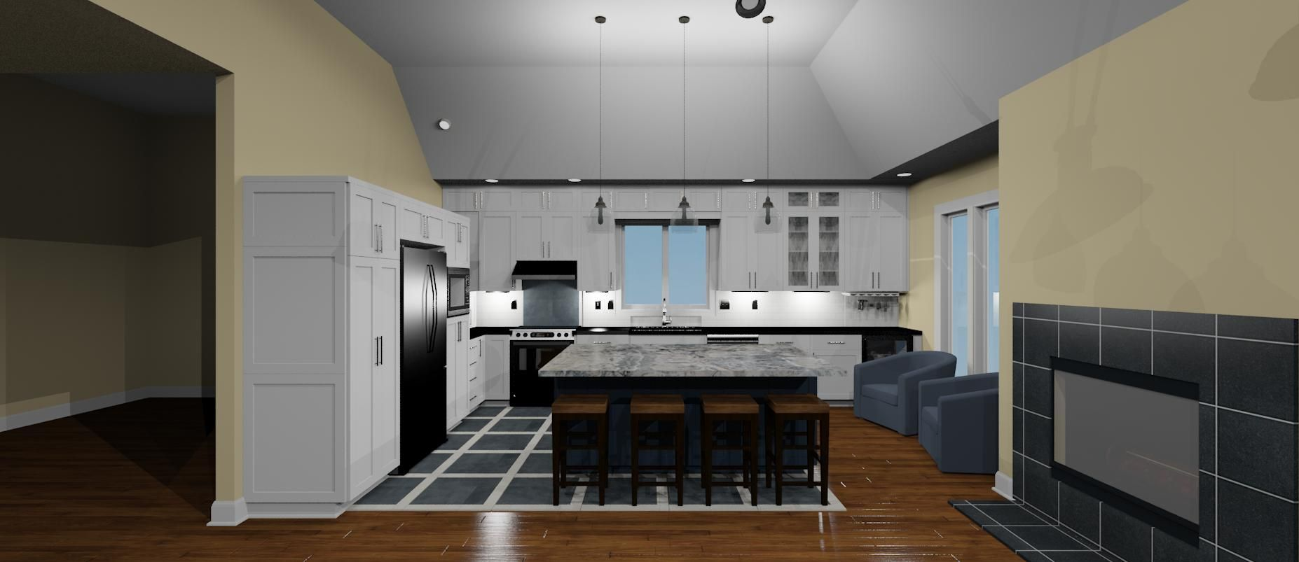 Chief Architect Rendering Of Blue And White Kitchen Designed By