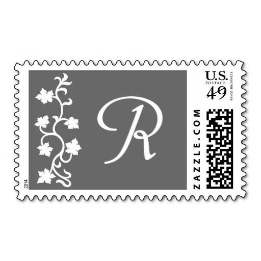 R Monogram (Gray Vine) Postage Stamp