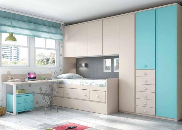 Habitacion infantil con nido y armario con cajones camas for Armario habitacion nina