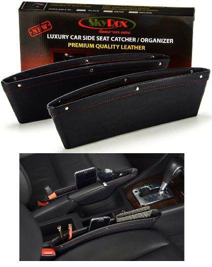 1x PU Leather Catch Catcher Box Caddy Car Seat Gap Slit Pocket Storage Organizer