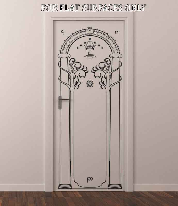 Lord of the rings gates of moria hobbit door or wall art for Lord of the rings bedroom ideas