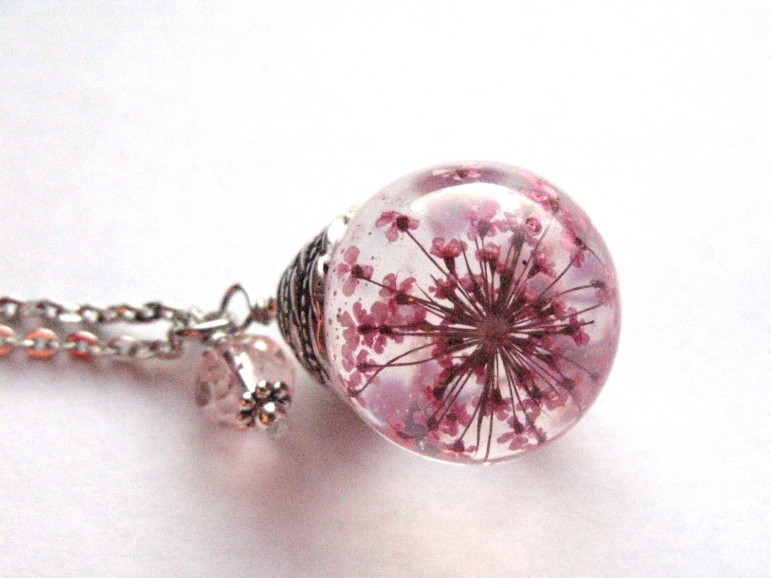 Resin Flower Jewelry Ideas Beautiful Pink Queen Anne S Lace